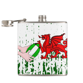 Wales Rugby Team Supporters Flag With Ball Flasks