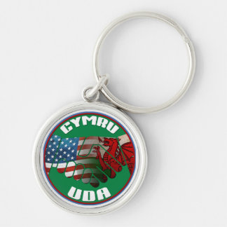 Wales USA Friendship Keyring Silver-Colored Round Key Ring