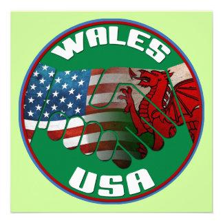 Wales USA Handshake Party Invitations