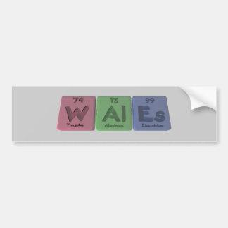 Wales-W-Al-Es-Tungsten-Aluminium-Einsteinium.png Bumper Sticker