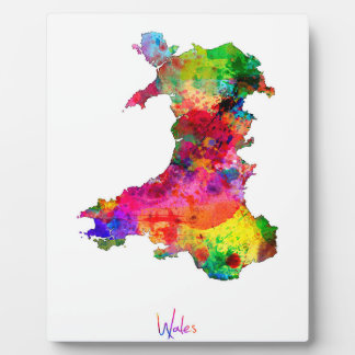 Wales Watercolor Map Display Plaques
