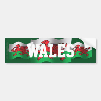 Wales Waving Flag Bumper Stickers