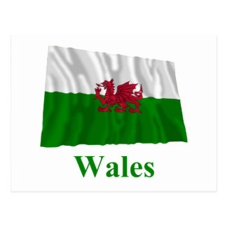 Wales Waving Flag with Name Postcard