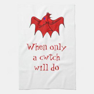 Wales welsh dragons cwtch tea towel
