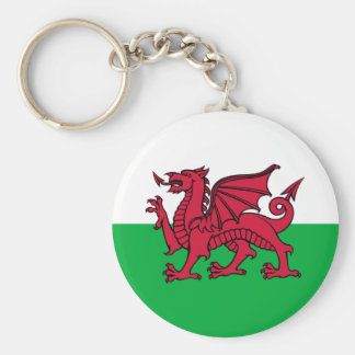 Wales -Welsh Flag Basic Round Button Key Ring