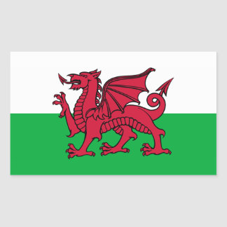 Wales -Welsh Flag Rectangular Stickers