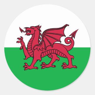Wales -Welsh Flag Round Sticker