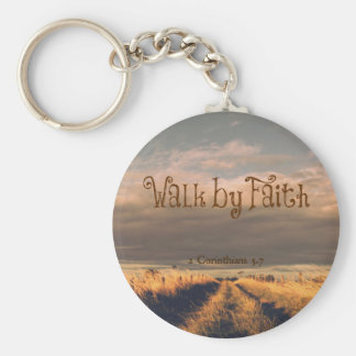 Walk by Faith Bible Verse Scripture Basic Round Button Key Ring