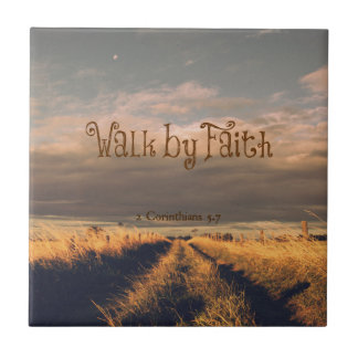 Walk by Faith Bible Verse Scripture Small Square Tile