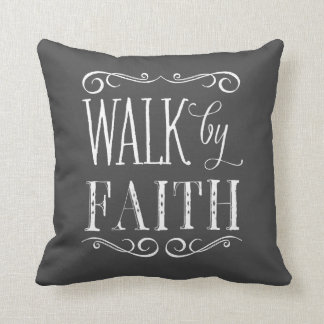 Walk By Faith Gray Accent Pillow
