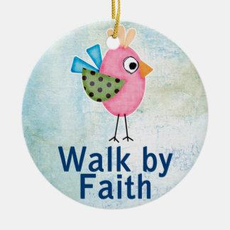 walk by faith whimsical bird christmas ornament