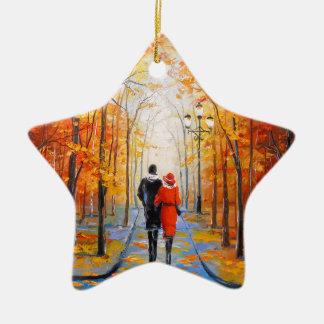 Walk in autumn Park Christmas Ornament