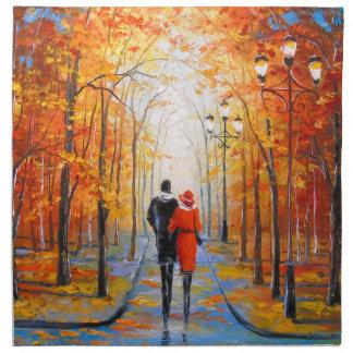 Walk in autumn Park Napkin