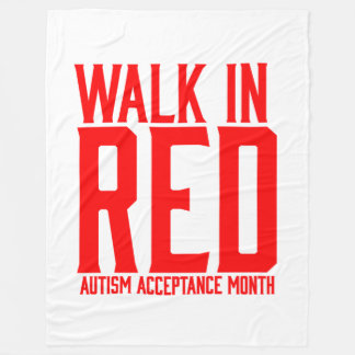 Walk in Red Autism Acceptance Month Fleece Throw