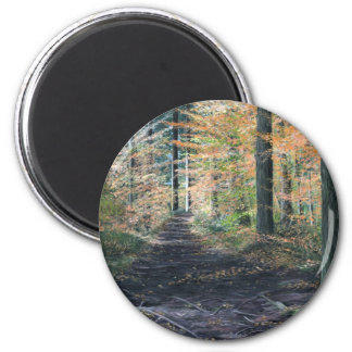 """Walk In The Woods"" 6 Cm Round Magnet"