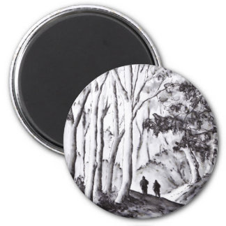 walk in the woods ink wash landscape drawing 6 cm round magnet
