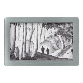 walk in the woods ink wash landscape drawing belt buckle