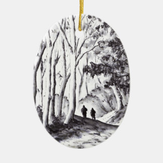 walk in the woods ink wash landscape drawing christmas ornament