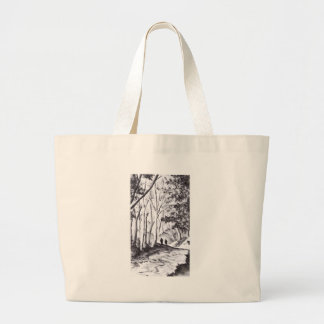 walk in the woods ink wash landscape drawing jumbo tote bag