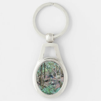 Walk in the woods Silver-Colored oval key ring