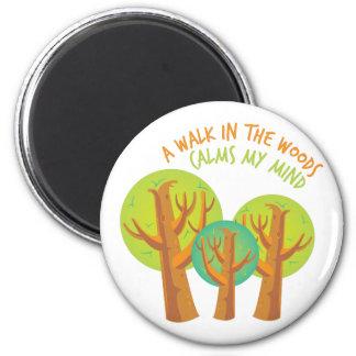 Walk In Woods 6 Cm Round Magnet