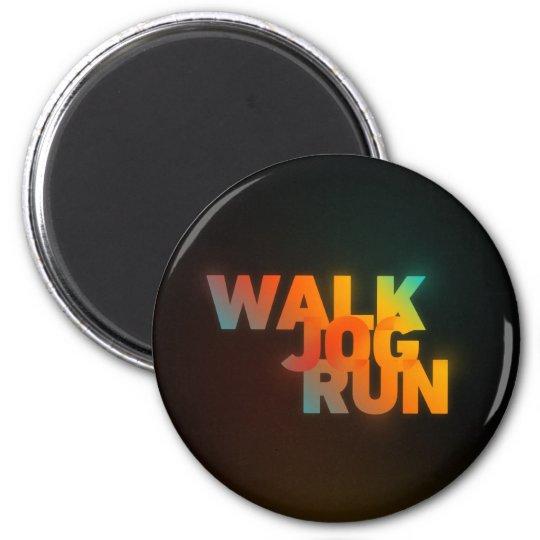 Walk Jog Run Connected Rainbow Type 6 Cm Round Magnet