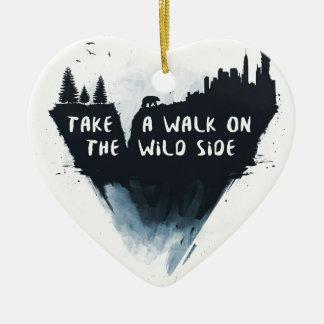 Walk on the wild side ceramic heart decoration
