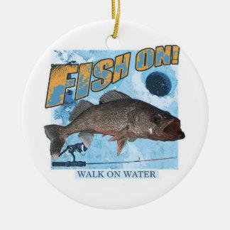 Walk on water walleye christmas ornament