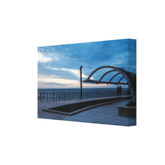 Walk path along the blue sea canvas print
