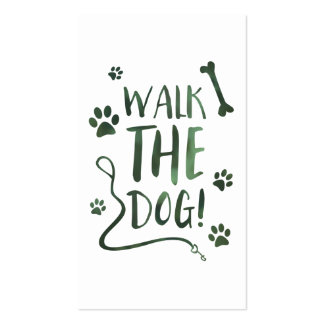 walk the dog stamp card bokeh pack of standard business cards