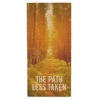Walk the Path Less Taken Wood USB Flash Drive