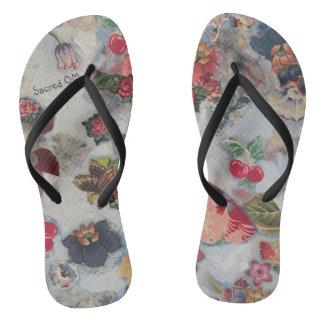Walk with Me Flip Flops Blue Flowers