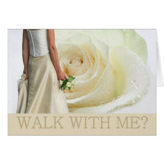 Walk with me request white rose card