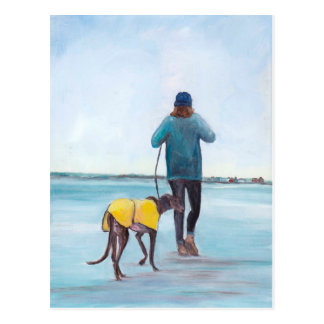 Walk with My Greyhound Dog Art Postcard