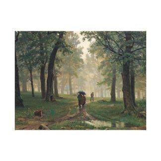 Walken in-the Rain Oil Painting on-Canvas Canvas Print