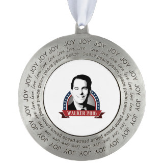 Walker 2016 Campaign Banner Nameplate Round Pewter Decoration