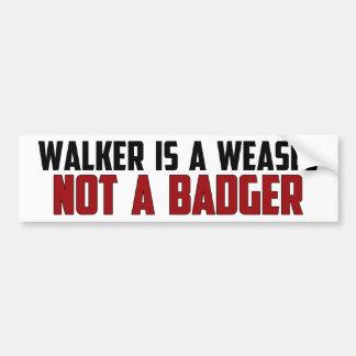 Walker Is A Weasel Bumper Stickers