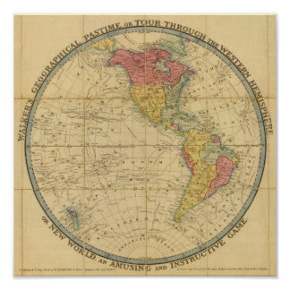 Walker's Geographical Pastime maps Poster