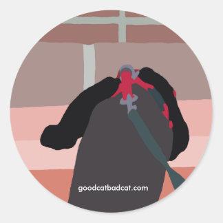 walking a cat round sticker