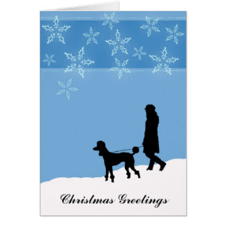 Walking a Poodle in the Snow, Christmas Greetings Card