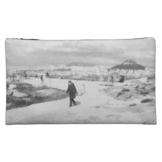 Walking among snow and ice cosmetic bags