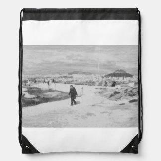 Walking among snow and ice drawstring backpacks