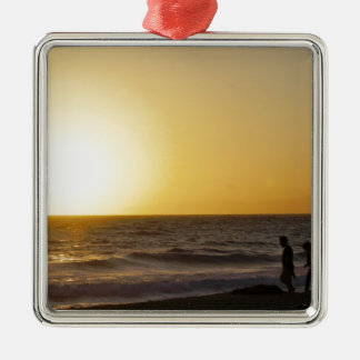 Walking at Sunset Silver-Colored Square Decoration