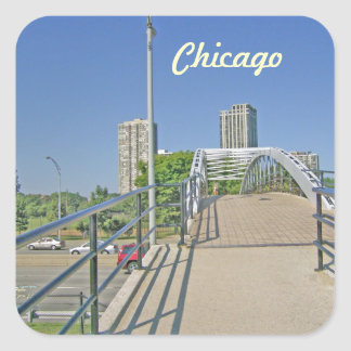 Walking Back to Chicago from the Beach Square Sticker