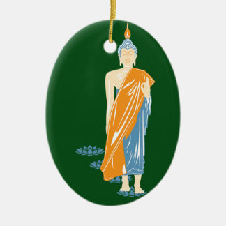 Walking Buddha Christmas Ornament (Ceramic)