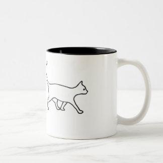 walking cat Two-Tone mug