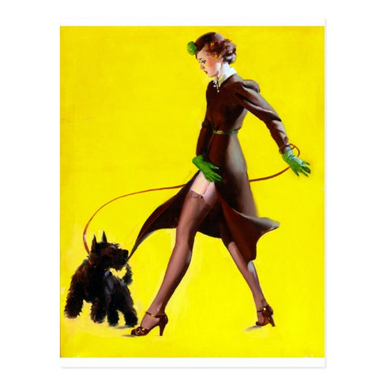 Walking Dog Pin Up Postcard