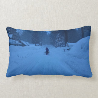 Walking dogs in the snow pillow