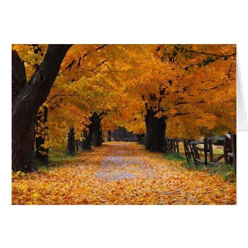 Walking Down Autumn's Memory Lane Greeting Card