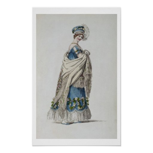 Walking dress, fashion plate from Ackermann's Repo Posters